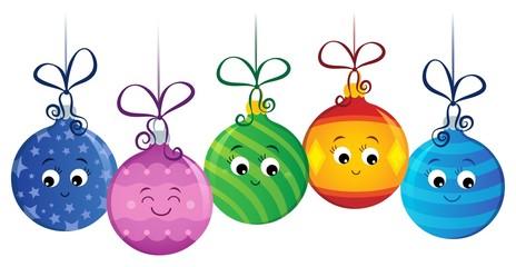 Deurstickers Voor kinderen Stylized Christmas ornaments image 2