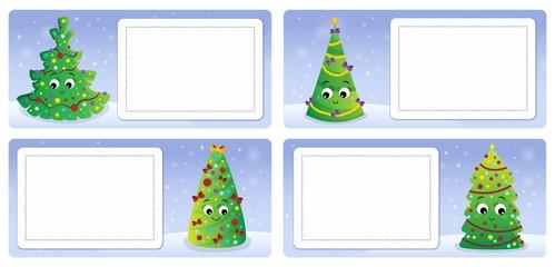 Deurstickers Voor kinderen Stylized Christmas theme cards 2