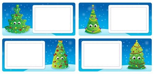 Deurstickers Voor kinderen Stylized Christmas theme cards 3