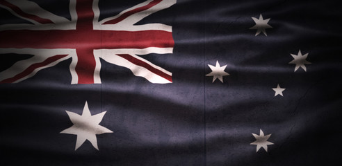 Australia National Day. Australian Flag with stripes and national colors. Background illustration. Copy space.