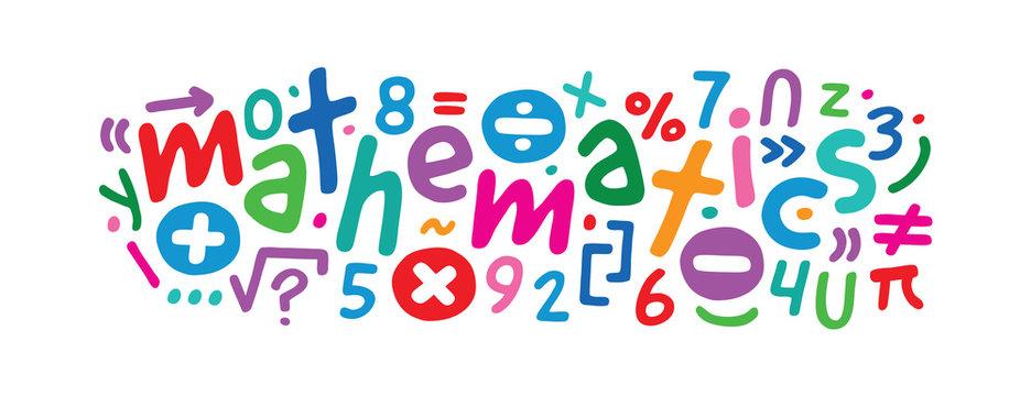 colorful math symbols concept. math and math symbols