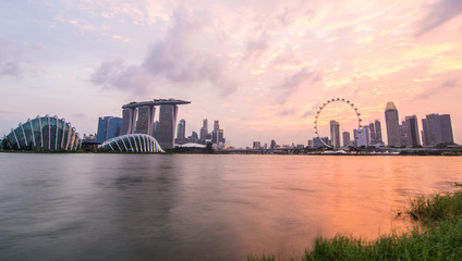 Sunset scenery of business district in Singapore