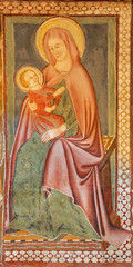 Fotomurales - COMO, ITALY - MAY 8, 2015: The detail of medieval fresco of Madonna in church Basilica di San Fedele.