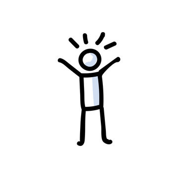 Hand Drawn Optimistic Stick Figure in Cheerful Pose. Concept of Positive Happy Expression. Simple Icon Motif for Glad Mood Communication. Pose, Joy, Funny, Bujo Illustration. Vector EPS 10.