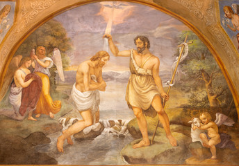 Wall Mural - COMO, ITALY - MAY 9, 2015: The fresco Baptism of Jesus in church Basilica di San Fedele by Onorato Andina (18. cent.).