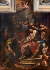 COMO, ITALY - MAY 9, 2015: The painting of The Crowning with Thorns in the church Basilica di San Fedele by Carlo Innocenzo Carloni (1686-1775).