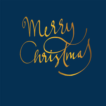 merry christmas, text, lettering calligraphy. For postcard, banner, poster, social media. vector