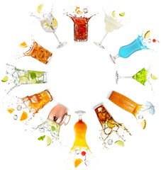 Wall Mural - splashing cocktails set in a circle isolated on white background