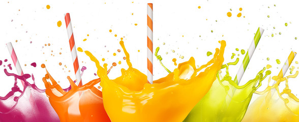 Wall Mural - drinking straws in fruit juice splashes set isolated on white