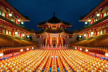 Chinese new year, Traditional Chinese lanterns display in Temple illuminated for Chinese new year festival.