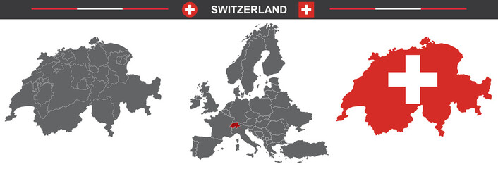 set of vector maps of Switzerland on white background
