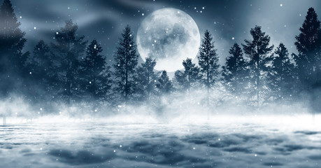 Dark winter forest background at night. Snow, fog, moonlight. Dark neon night background in the forest with moonlight. Neon figure in the center. Night view, magic.