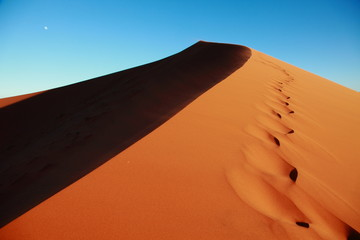 In de dag Baksteen Huge Red sand dunes in Sossusvlei desert in Namibia in the sunrise