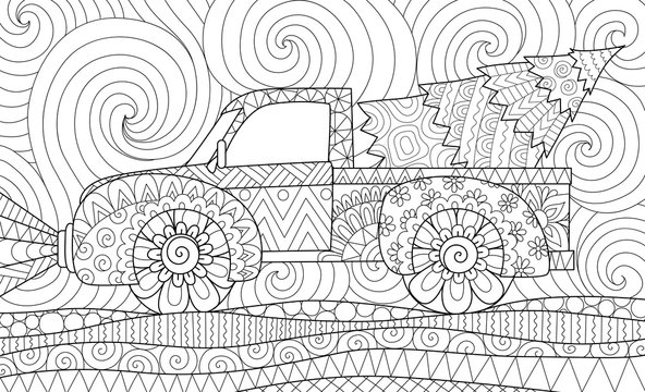 Line art design of pickup truck with christmas tree for adult coloring book,coloring page and other design element. Vector illustration