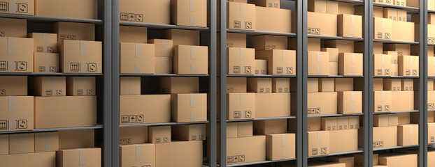 Cardboard boxes on storage warehouse shelves background. 3d illustration Wall mural