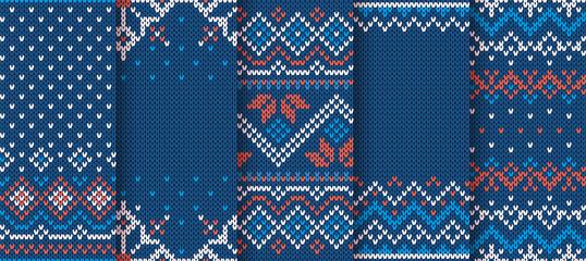 Knit blue print. Christmas seamless pattern. Vector illustration.