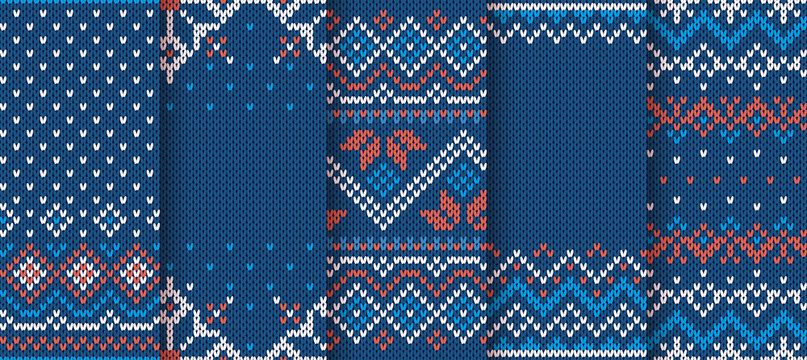 Knit blue print. Christmas seamless pattern. Vector illustration.