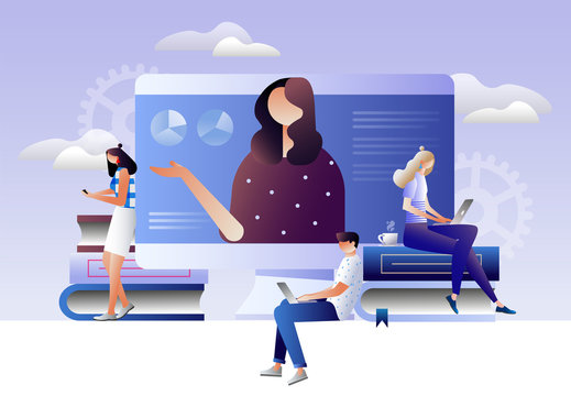 Students e-learning by webinar training and listening to businesswoman with charts on laptop. Webinar, online video training, tutorial podcast concept. Isometric 3D vector illustration
