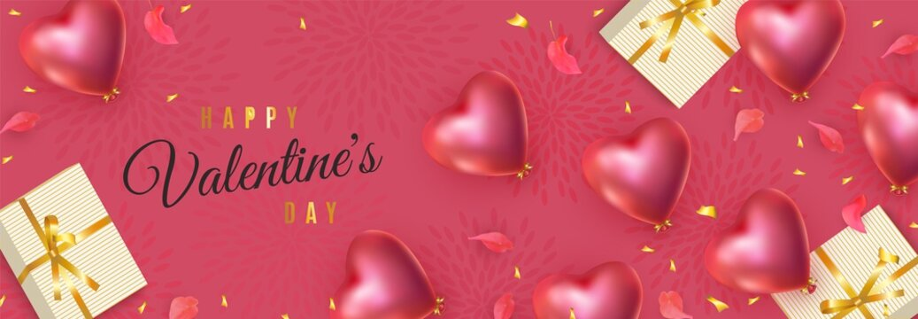 Happy Valentines Day banner. 3d red heart-shaped helium balloons, petals, golden confetti, gifts. Vector advertising horizontal red background for February 14, wedding, birthday
