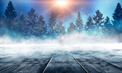 Winter background. Winter snow landscape with wooden table in front.