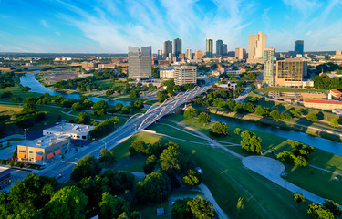 Aerial of Downtown Fort Worth Blue Sky Fotobehang