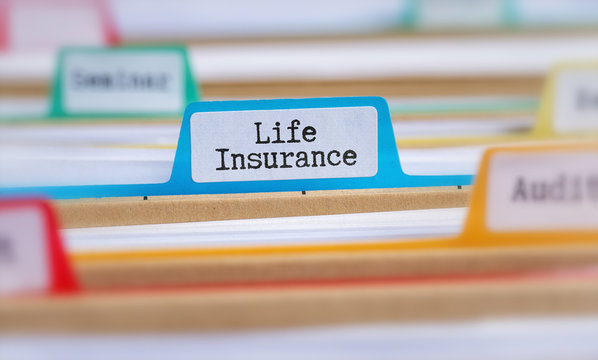 File folders with a tab labeled Life Insurance