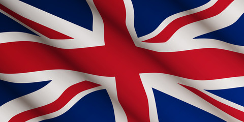 Waving flag of United Kingdom. Template, banner, background. National holiday. Symbol, illustration. Fotoväggar