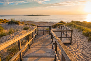 Wooden path at Baltic sea over sand dunes with ocean view, sunset summer evening