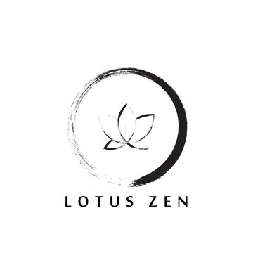 abstract zen logo design with lotus flower inside.