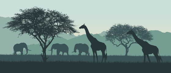 Realistic illustration of African landscape and safari. Elephant with giraffe on savanna among trees on clear summer day under green sky, vector
