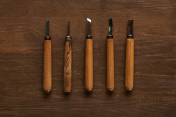 top view of carpentry tools on wooden table
