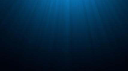 Deep blue undersea with sunlight ray through over surface ripple wave background. Dark scene beneath blue sun beam. Abstract marine and aquatic. 3D illustration