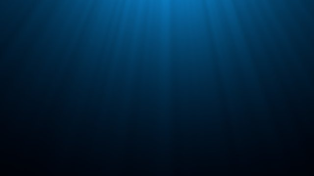 Deep blue undersea with sunlight ray through over surface ripple wave background. Dark scene beneath blue sun beam. Abstract marine and aquatic. 3D illustration
