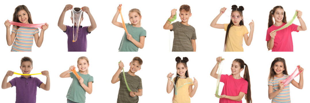 Collage of children with different slimes on white background