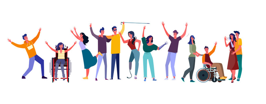 Diverse people set. Disabled men and women community. Flat vector illustrations. Diversity, communication concept for banner, website design or landing web page