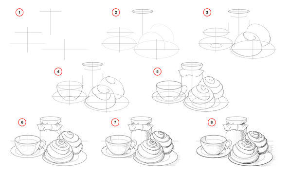 How to draw step-wise still life with cup of tea and tasty cakes. Creation step by step pencil drawing. Educational page for artists. Textbook for developing artistic skills. Hand-drawn vector image.