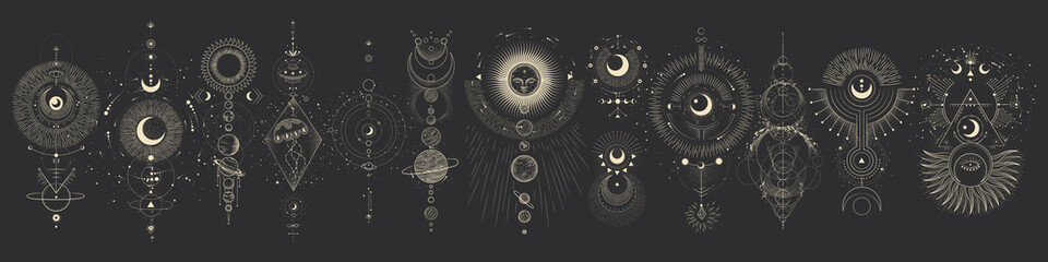 Vector illustration set of moon phases. Different stages of moonlight activity in vintage engraving style. Zodiac Signs Fotomurales