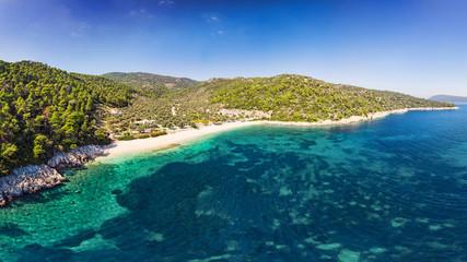 The beach Leftos Gialos of Alonissos from drone, Greece