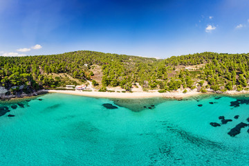 The beach Milia of Alonissos from drone, Greece