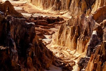 Papiers peints Marron canyon, grands lavaka Ankarokaroka, Parc National Ankarafantsika, Madagascar