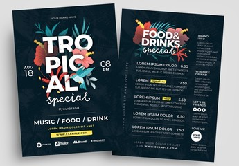 Tropical-Themed Bar Menu Flyer Layout