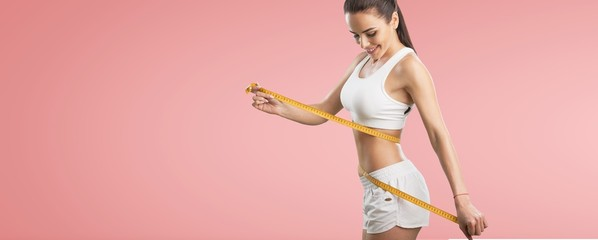 Fototapeta Fitness woman weight loss, slim body, healthy lifestyle concept obraz