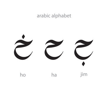 Arabic alphabet letters calligraphy. Transcription pronunciation of Arabic letters. International Arabic language day.2