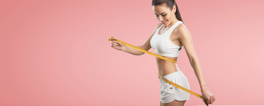 Fitness woman weight loss, slim body, healthy lifestyle concept