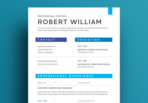Clean Resume Layout with Shades of Blue
