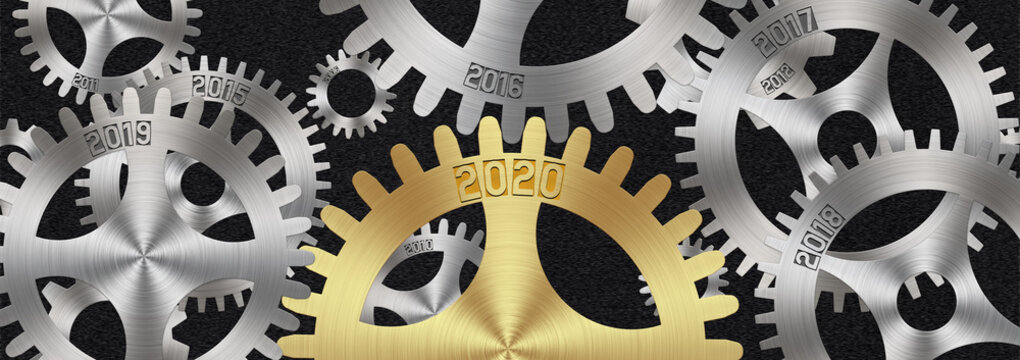 New year concept. Illustration of gears with years 2020 and 2019 and lots of smaller gears in the background