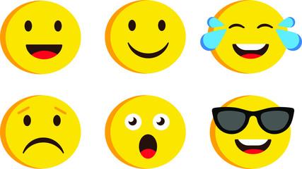 Emoji set funny and sad Emoticon cartoon emojis symbols chat objects vector icons set vector