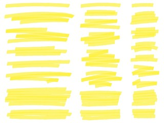 Highlight marker lines. Yellow text highlighter markers strokes, highlights marking. Permanent marker sketches, ink brush or permanent marker sketch. Isolated vector symbols set