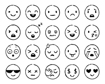 Hand drawn emoji. Doodle emoticons, smile face sketch and grunge ink brush emojis doodles. Emotion mood sketching, comic faces emoji avatar. Isolated vector symbols set
