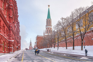 View on red square and kremlin in Moscow at winter snowy day, Russia